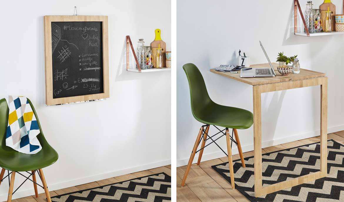 Diy cette table d appoint escamotable se transforme en - Fixer un tableau au mur ...