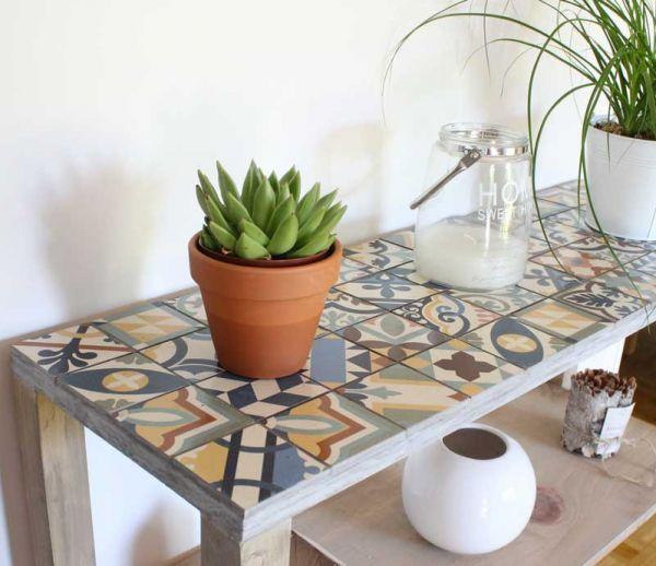 DIY : Fabriquer facilement une console en bois et en carreaux de ciment