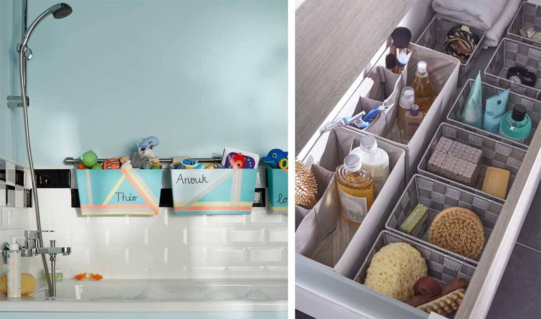 25 astuces de rangements pour la salle de bains for Salle de bain meuble rangement