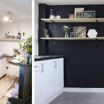La cuisine ouverte, avant et après les travaux.