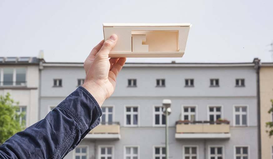 Une maquette de l'appartement de toit.