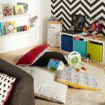 Un coin lecture pour enfant, installé par exemple dans le salon.