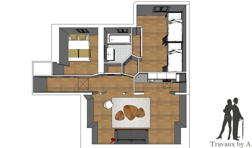 Pour rappel, le plan actuel de l'appartement.