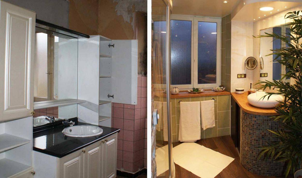 avant apr s salle de bains zen et d co tropicale refaire sa salle de bains. Black Bedroom Furniture Sets. Home Design Ideas