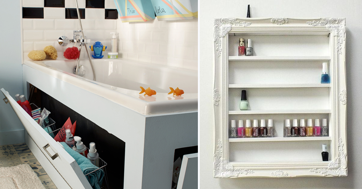 25 astuces de rangements pour la salle de bains rangement maquillage shampoing - Amenagement placard salle de bain ...