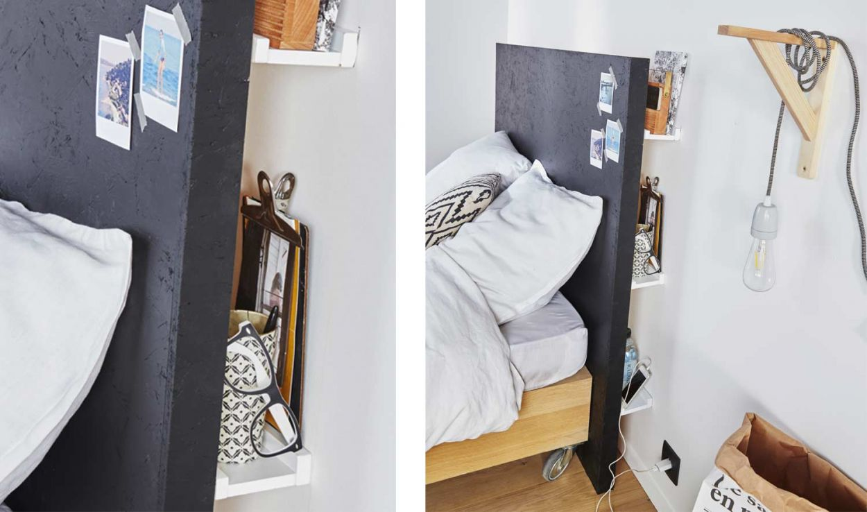 diy pour une t te de lit astucieuse avec rangements int gr s d co int rieure 18h39. Black Bedroom Furniture Sets. Home Design Ideas