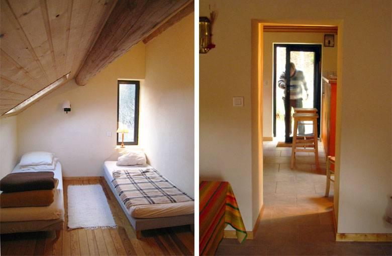 L'une des chambres et l'enfilade de portes au rez-de-chaussée.