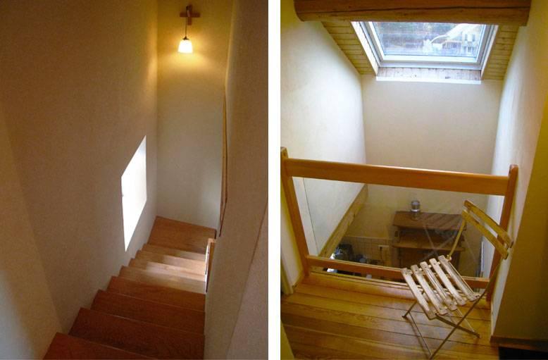 À droite, le puits de lumière vu de l'étage. À gauche : le nouvel escalier.