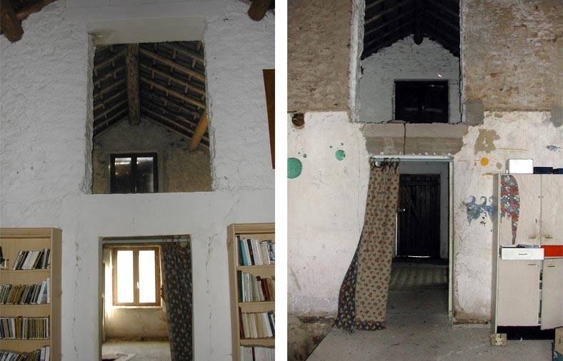 L'intérieur de la Roubière, avant rénovation, de part et d'autre du mur porteur.