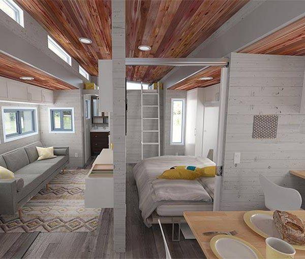 Découvrez  Aurora, une tiny house extensible qui passe de 21 m² à 36 m²