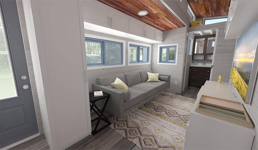 tiny house modulable une tiny house en bois qui s 39 agrandit. Black Bedroom Furniture Sets. Home Design Ideas