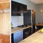 La cuisine avant et après les travaux.