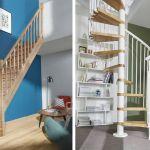 Escalier quart tournant (à gauche) et escalier en colimaçon (à droite).