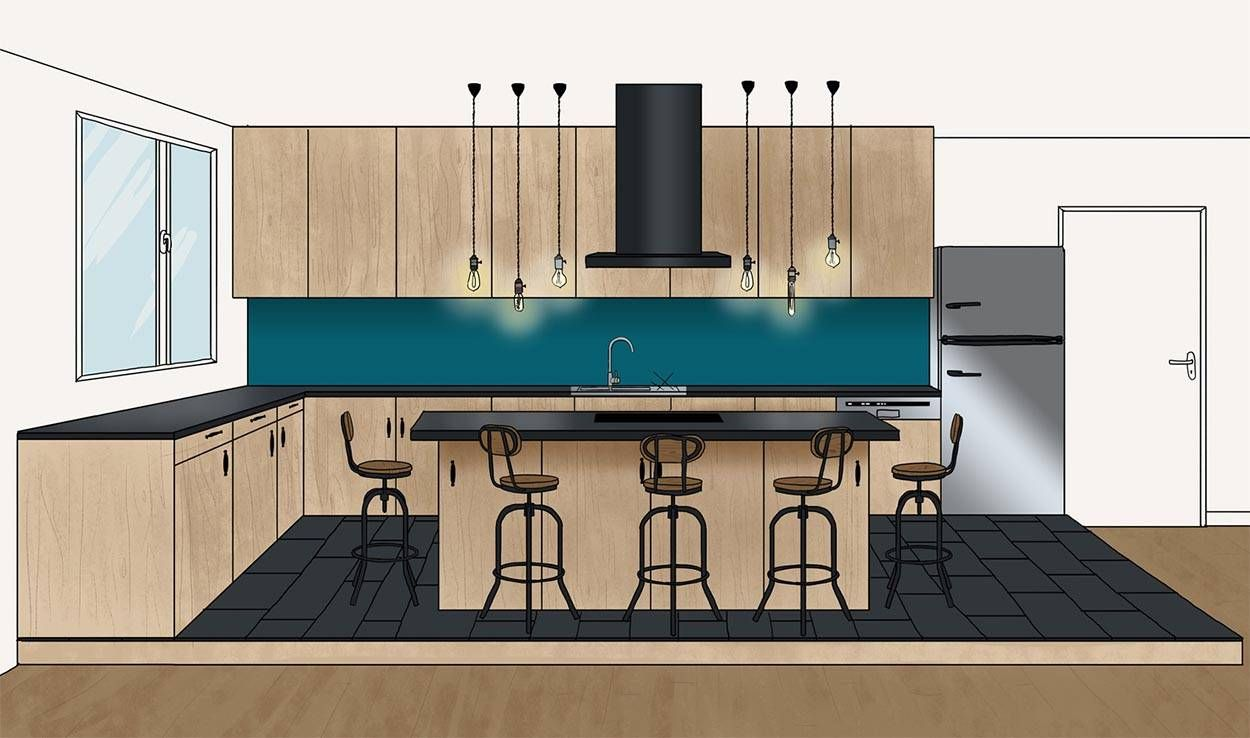 plans d architecte pour un lot de cuisine de r ve dessiner un lot central. Black Bedroom Furniture Sets. Home Design Ideas