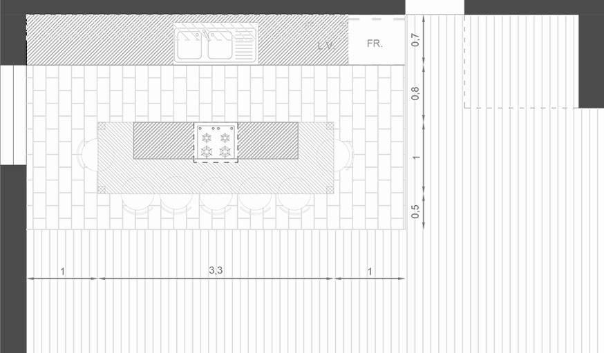 Option n°2 : plus de tabourets, un îlot central plus long, et pas de plan de travail sous la fenêtre.