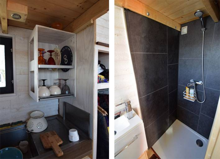 Un placard-égouttoir et une douche alimentée par l'eau de pluie.