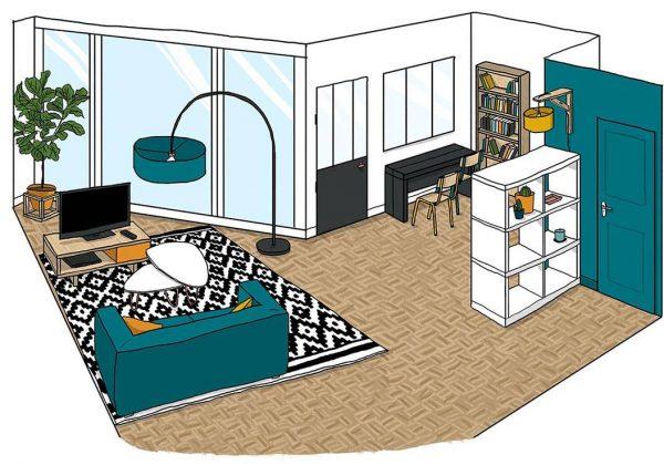 Aménager un salon avec une baie vitrée - Agencement d\'un salon atypique