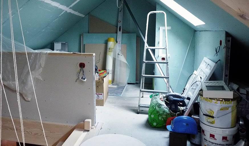 La salle de bains en cours de chantier.