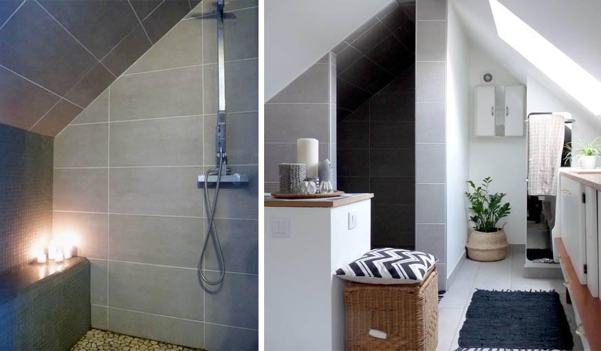 am nager des combles en salle de bains salle de bains sous toit. Black Bedroom Furniture Sets. Home Design Ideas