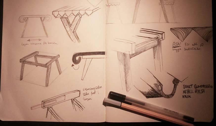 Les croquis de la table réalisée par Nathalie Dackelid