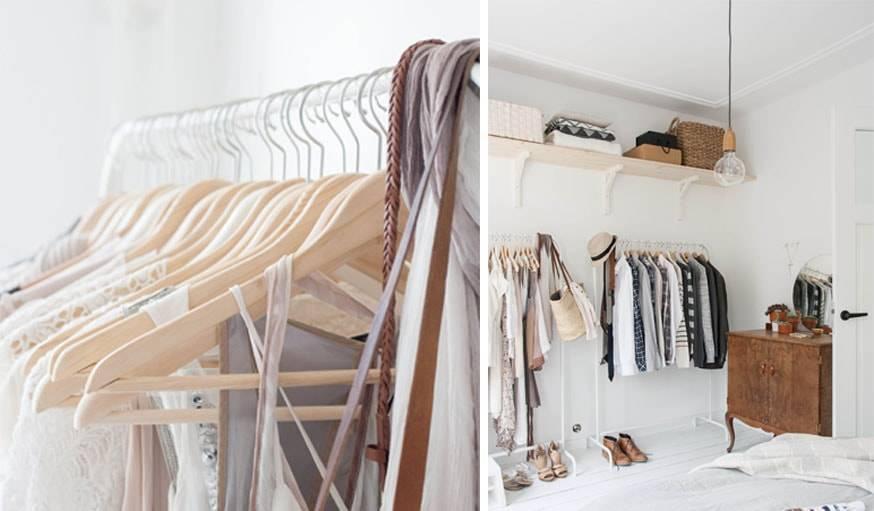Le dressing minimaliste d'Holly Marder prend peu de place dans la chambre.