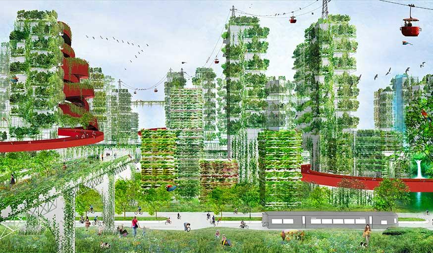 Esquisse de la future ville-forêt.