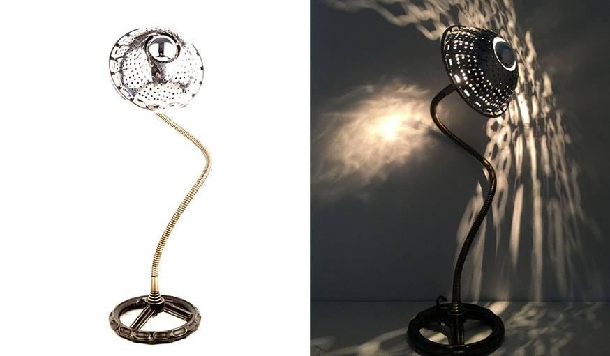 La lampe Fleur, fabriquée à partir d'un panier cuit-vapeur.