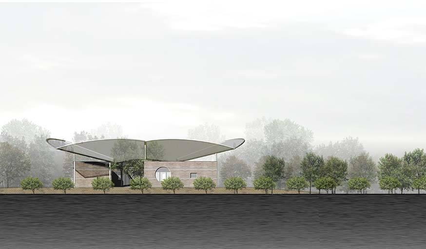 La Maison pour la paix est conçu avec des matériaux qui se fondent dans le paysage.