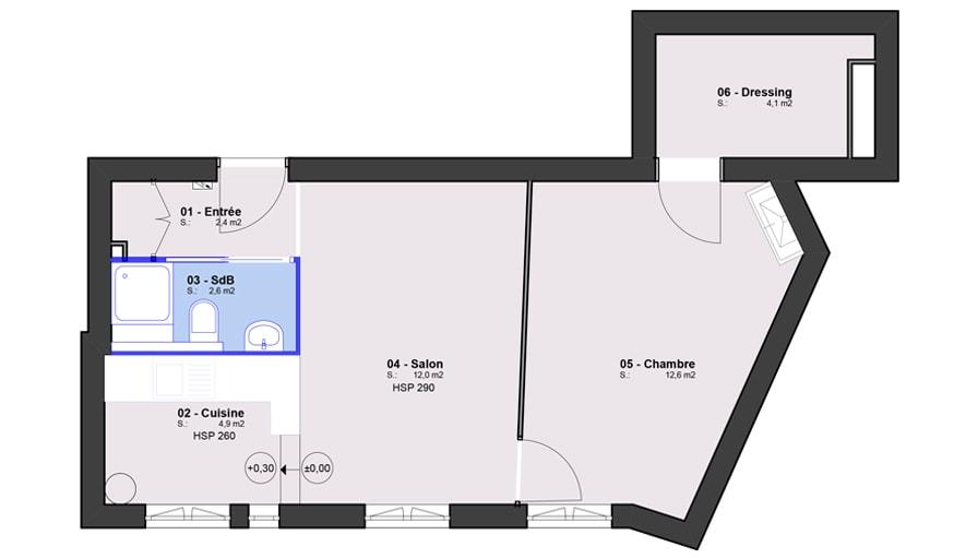 La 2e solution envisagée par l'architecte : déplacer la salle de bains dans l'entrée.