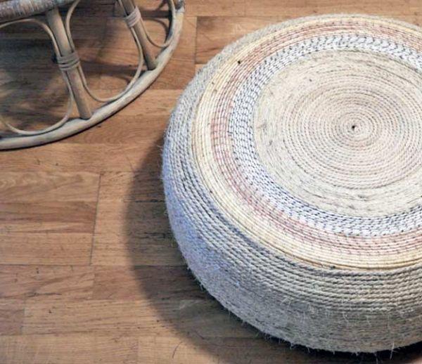 DIY : Fabriquez un joli pouf avec un pneu et de la corde