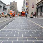 Aménagement de la route solaire rue du Vieux Pont de Sèvres à Boulogne-Billancourt, en février 2017.