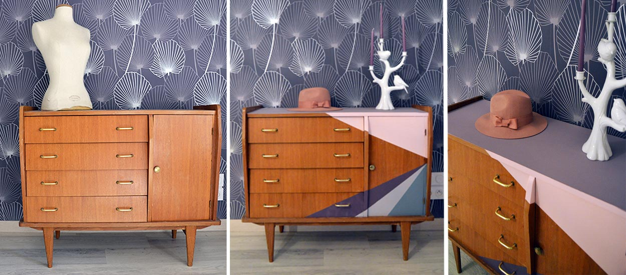 tuto relooker un meuble comment repeindre un meuble commode vintage. Black Bedroom Furniture Sets. Home Design Ideas