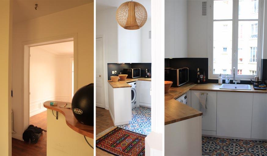 À gauche, la cuisine avant. Au milieu et à droite, la cuisine aujourd'hui.