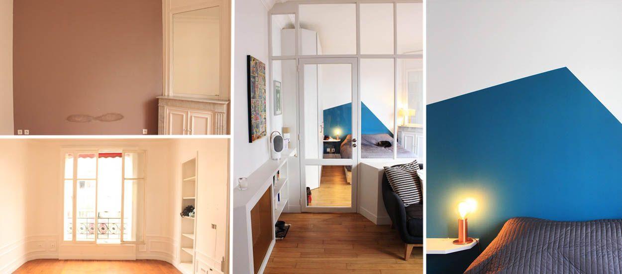 Avant / Après : verrière blanche et touches de bleu pour transformer cet appartement