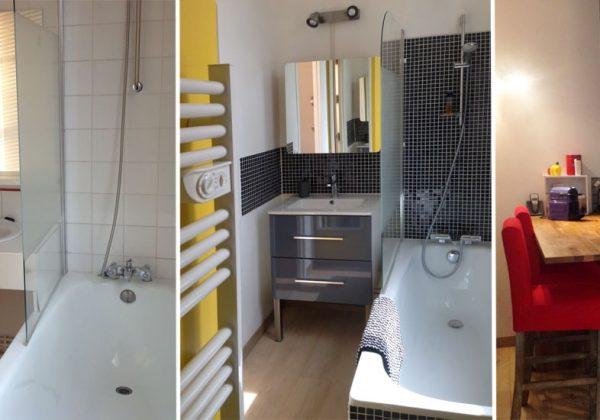 Avant / Après : Aménager un studio - Salle de bains jaune et ...