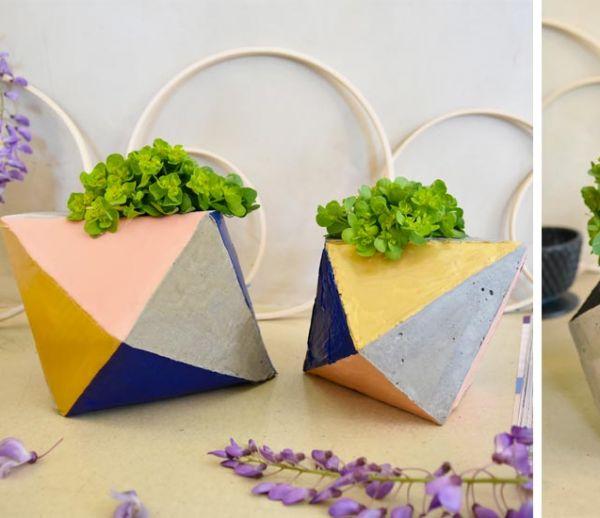 Tuto : Fabriquez un cache-pot en ciment aux motifs géométriques