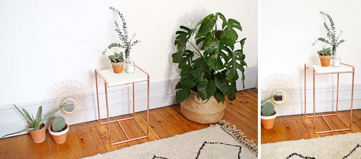 diy pour fabriquer une table en des tubes de cuivre. Black Bedroom Furniture Sets. Home Design Ideas