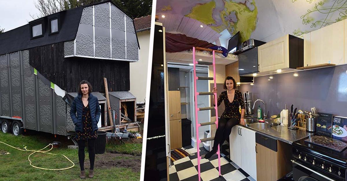 Elle a construit une tiny house unique en France, tout en récup'