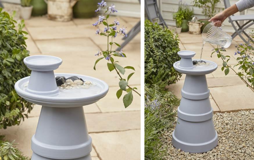Diy pour fabriquer un abreuvoir pour les oiseaux tuto r cup 39 pot de fleurs - Baignoire oiseaux jardin ...