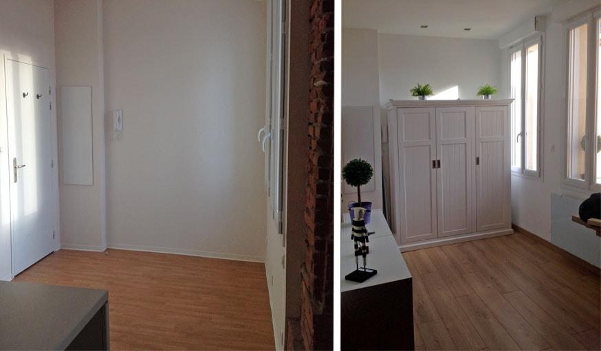 L'entrée avant et après les travaux.