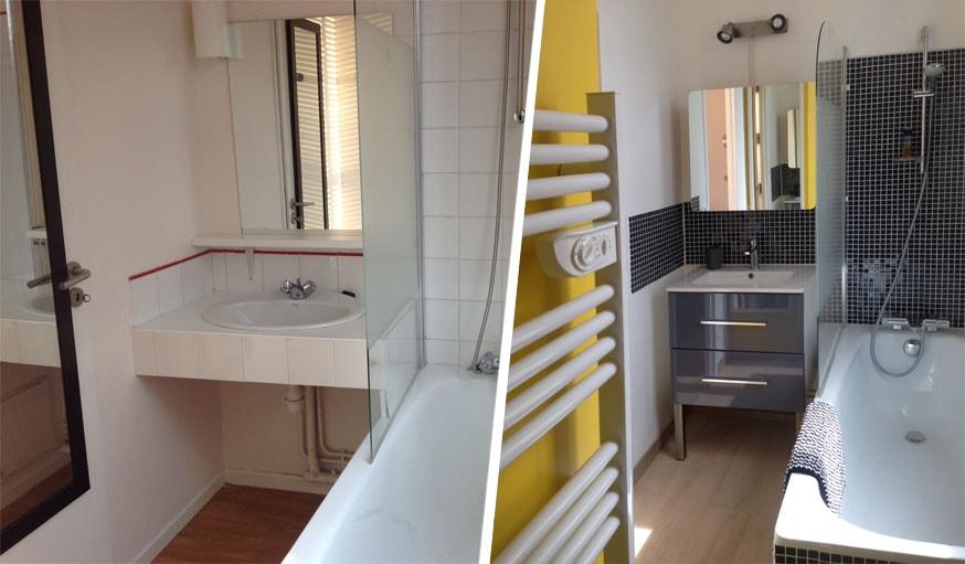 La salle de bains avant et après.