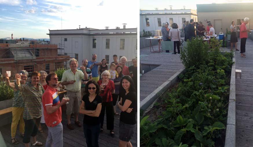 Petite fête entre voisins sur la terrasse partagée de K'Hutte à Strasbourg.