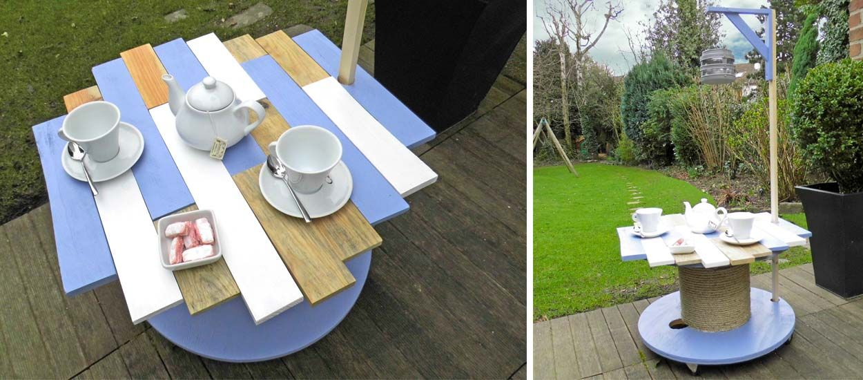 diy pour fabriquer une table de jardin avec un touret. Black Bedroom Furniture Sets. Home Design Ideas