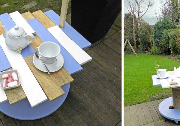 DIY pour fabriquer une table de jardin avec un touret - 18h39.fr