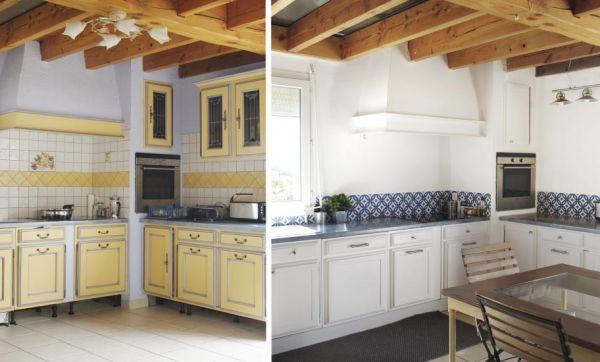 Avant / Après : Une cuisine provençale relookée en blanc et bleu