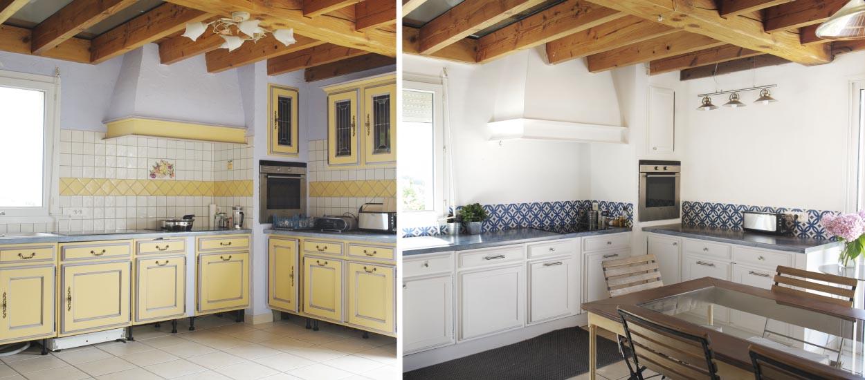 moderniser une cuisine proven ale cr dence imitation carreaux de ciment. Black Bedroom Furniture Sets. Home Design Ideas
