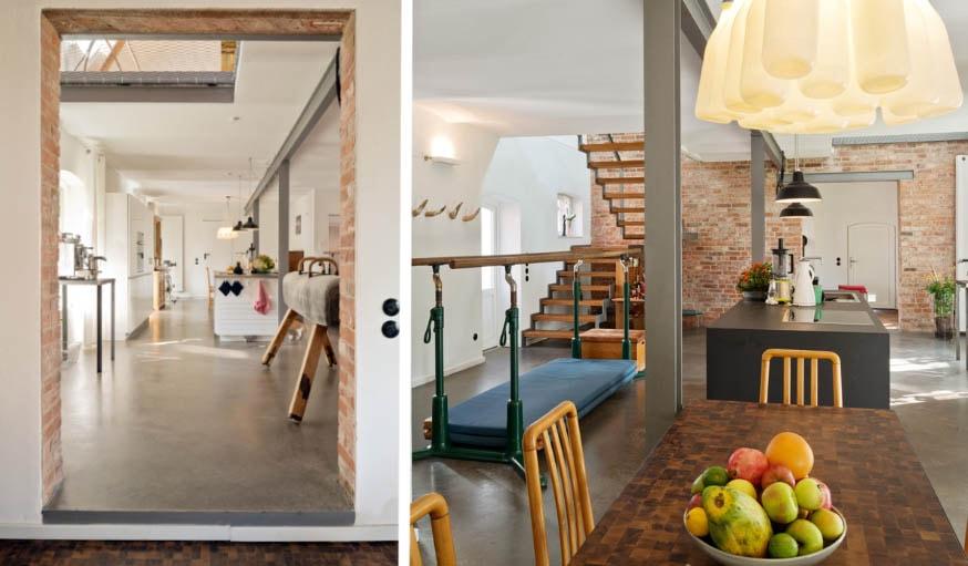 La cuisine ouverte et la salle à manger.