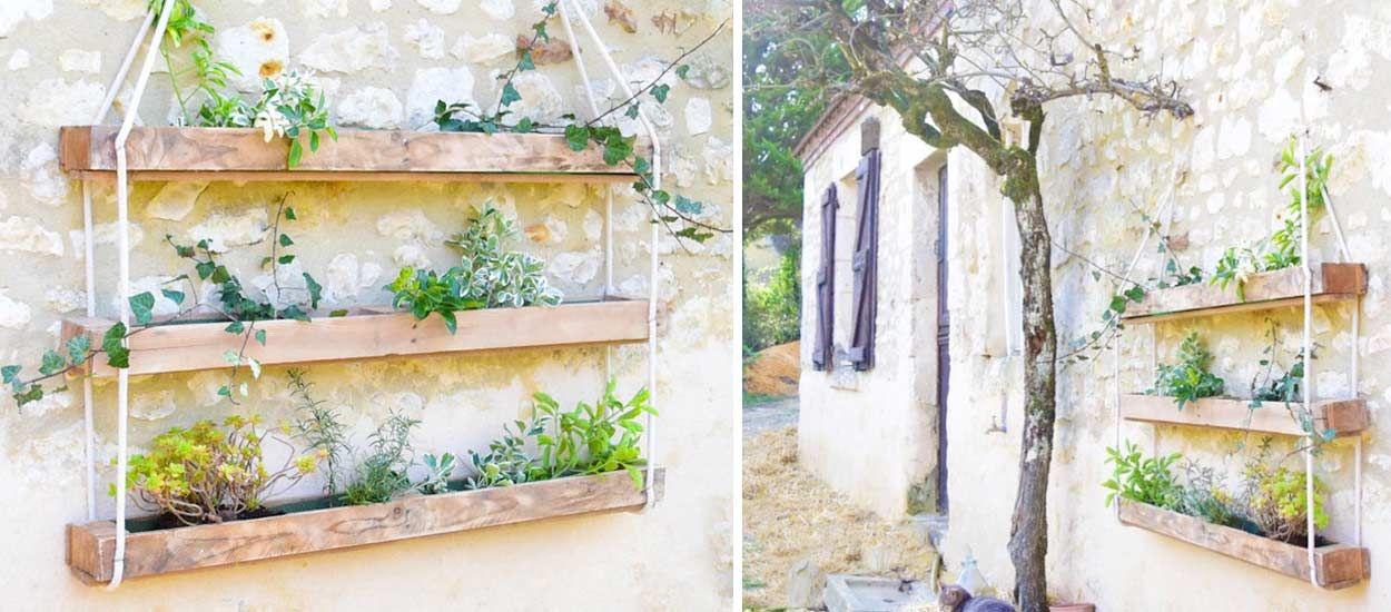 Diy pour fabriquer une jardini re suspendue en bois de palette - Jardiniere en palette ...