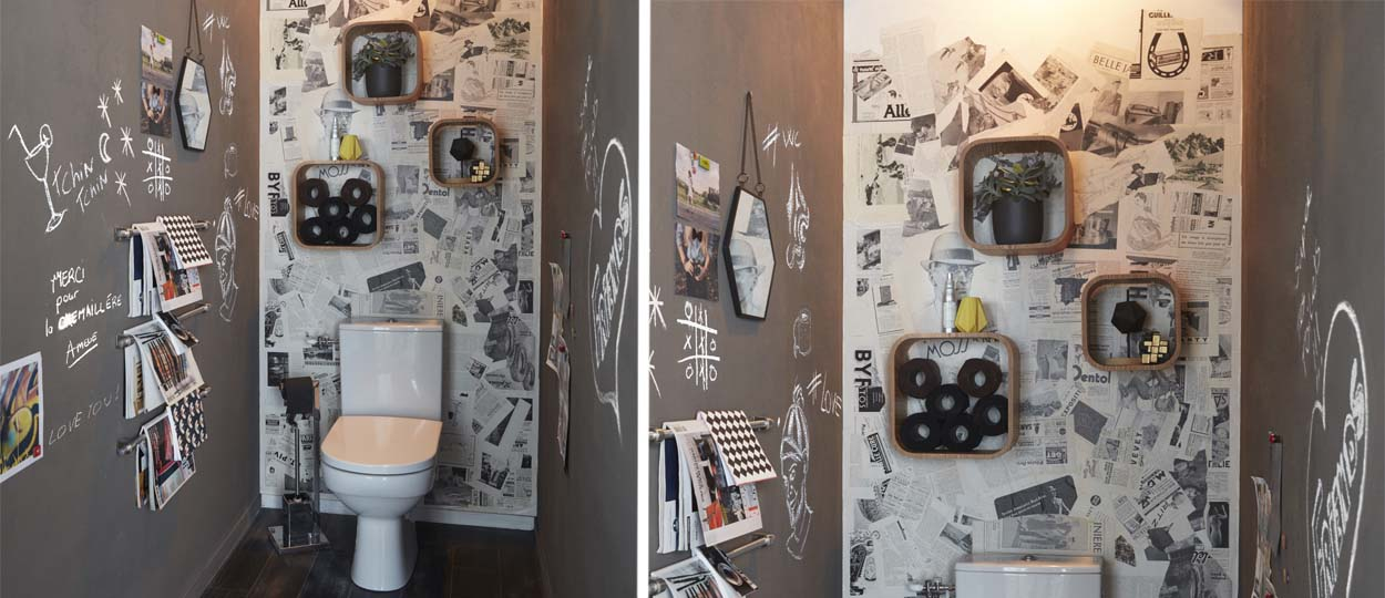 d corer ses toilettes diy pour refaire les murs de ses toilettes. Black Bedroom Furniture Sets. Home Design Ideas