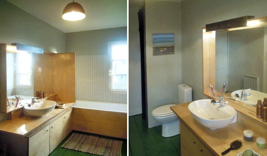 avant/après cuisine & salle de bain : oser le vert sur le parquet ... - Salle De Bain Maison